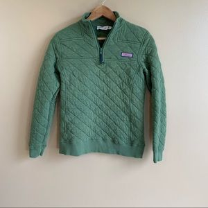 vineyard vines • quilted shep shirt pullover sweater size XXS olive green